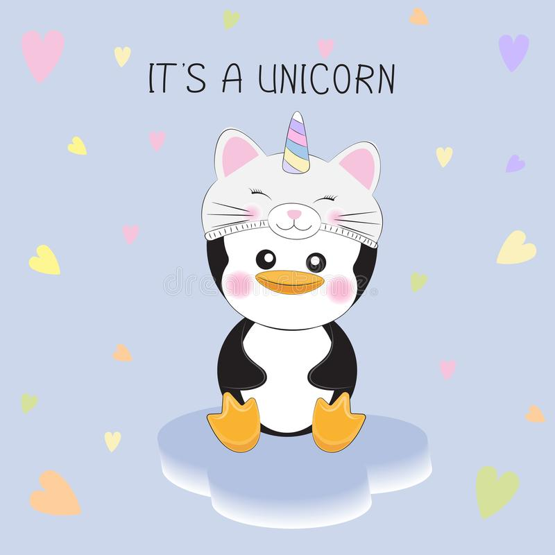 Cute little penguin in a kitten unicorn hat on white background with hearts. royalty free illustration