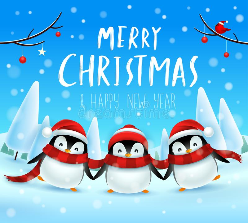 Cute little penguins in Christmas snow scene winter landscape. Christmas cute animal cartoon character. royalty free illustration