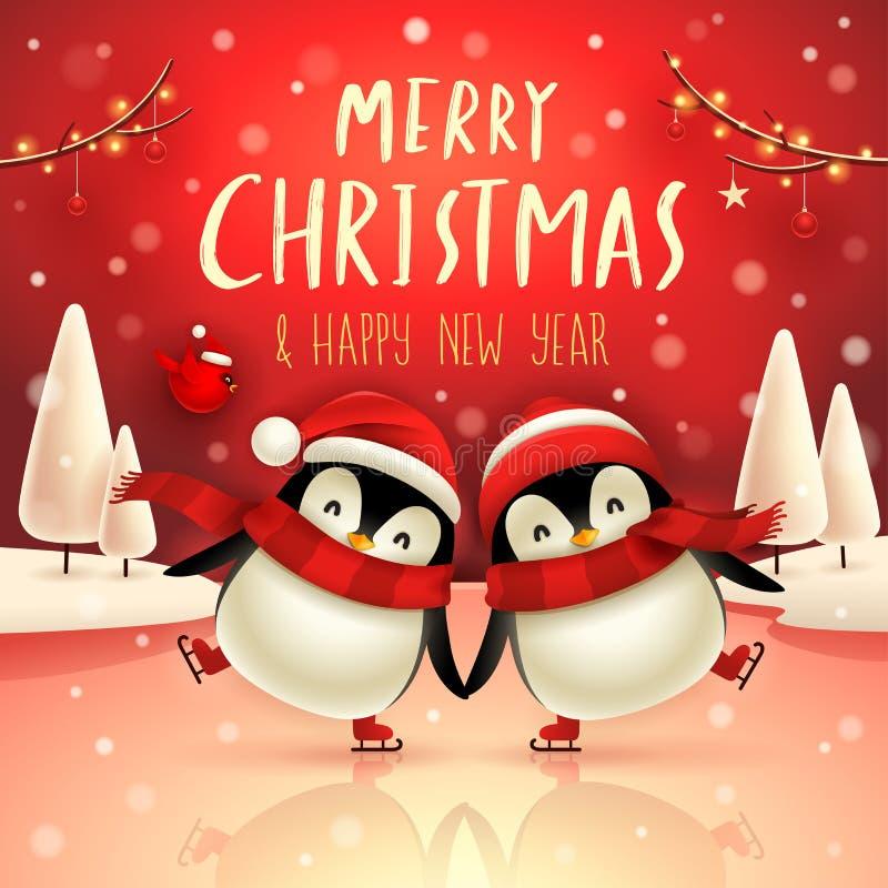 Cute little penguins skate on frozen river in Christmas snow scene. Christmas cute animal cartoon character vector illustration