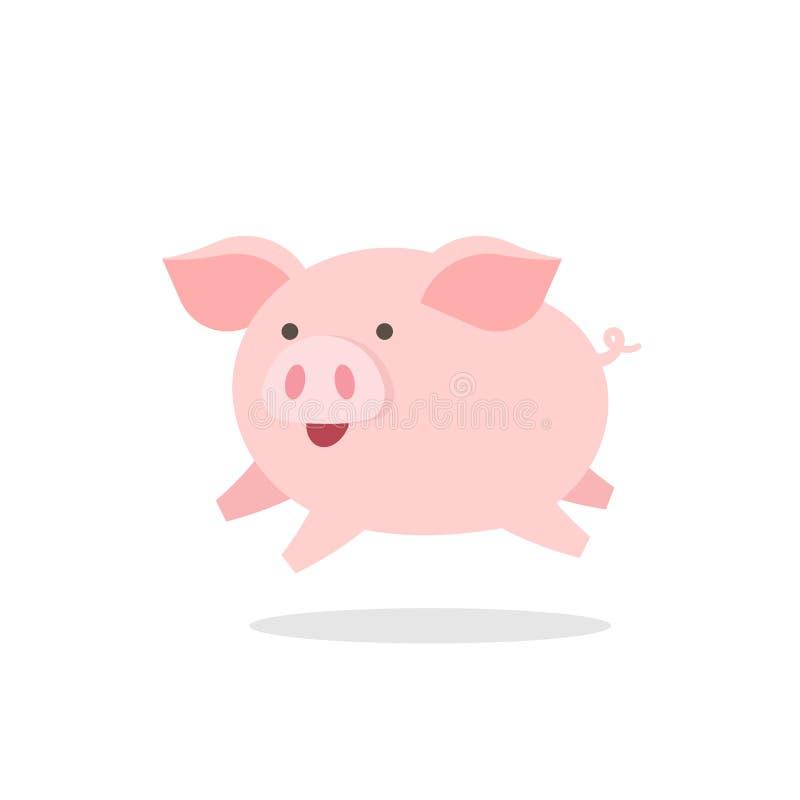Cute little pig jumping happily, cartoon vector illustration stock illustration