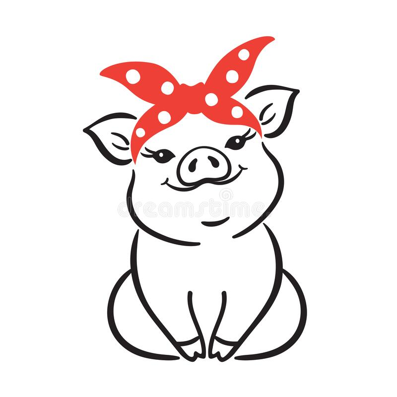 Free Cute Little Pig With Red Polka Dot Bandana Vector Stock Image - 197744201
