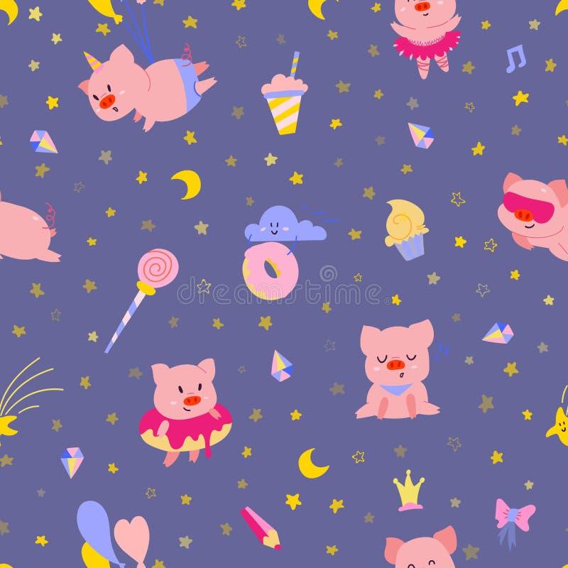 Cute little pigs on night sky seamless pattern. vector illustration