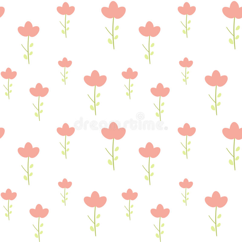 Cute little pink flower on white background simple minimal seamless pattern illustration stock illustration