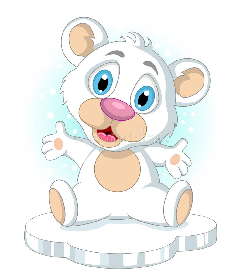 Download Cute Little Polar Bear Cartoon Waving Stock Illustration - Image: 31144123
