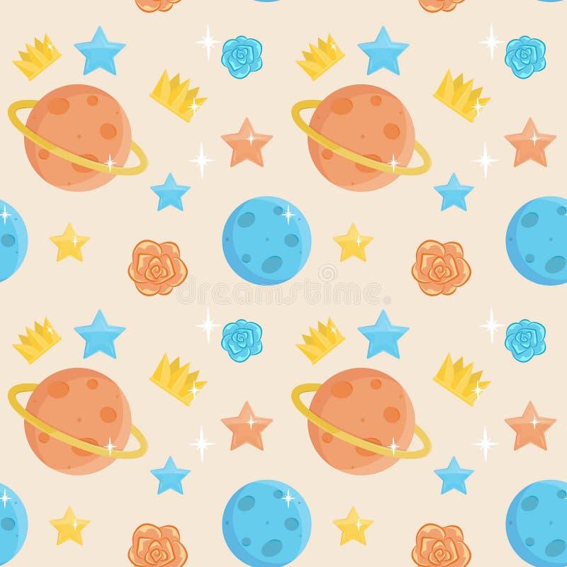 Cute little prince seamless pattern vector illustration