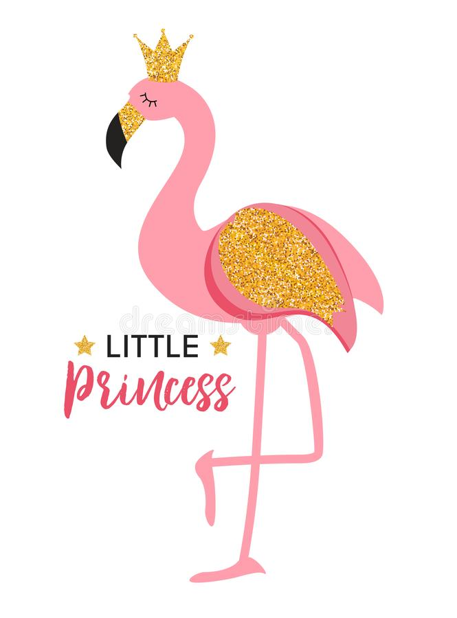 Cute Little Princess Abstract Background with Pink Flamingo Vector Illustration. EPS10 vector illustration