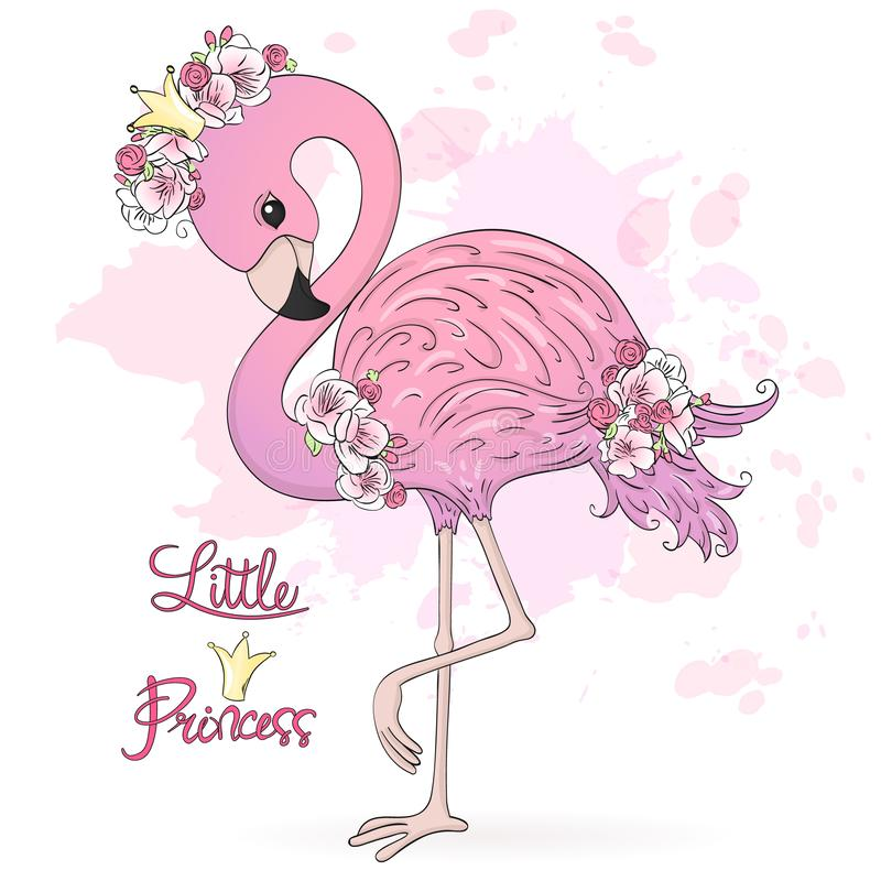 Cute Little Princess Flamingo with flowers. Vector Illustration EPS10. Hand drawn cute Little Princess Flamingo with flowers. Vector Illustration EPS10 royalty free illustration
