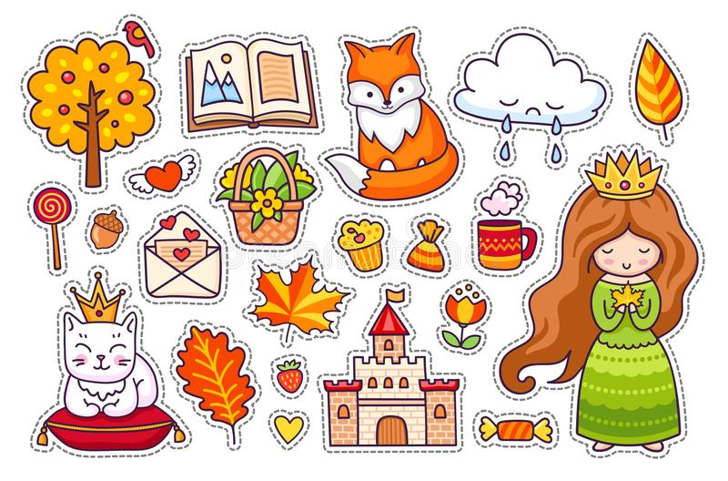 Cute little princess, fox, white cat with crown, castle, kitten, autumn tree, open book, leaves, clouds, love letter. royalty free illustration