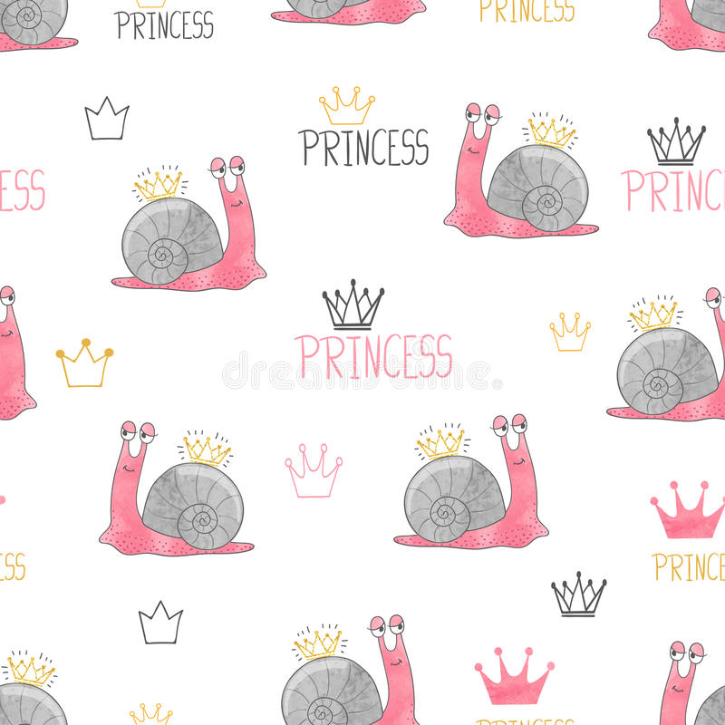 Free Cute Little Princess Snail Pattern. Stock Images - 92955654