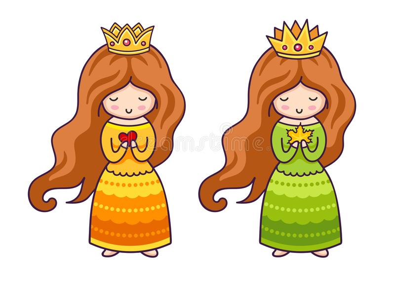Cute little princesses with heart and autumn maple leaf. vector illustration
