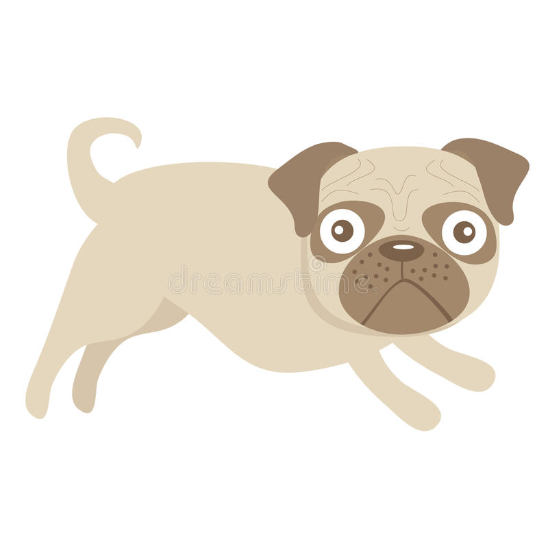 Download Cute little pug dog stock vector. Image of puppy, cheerful - 36108237