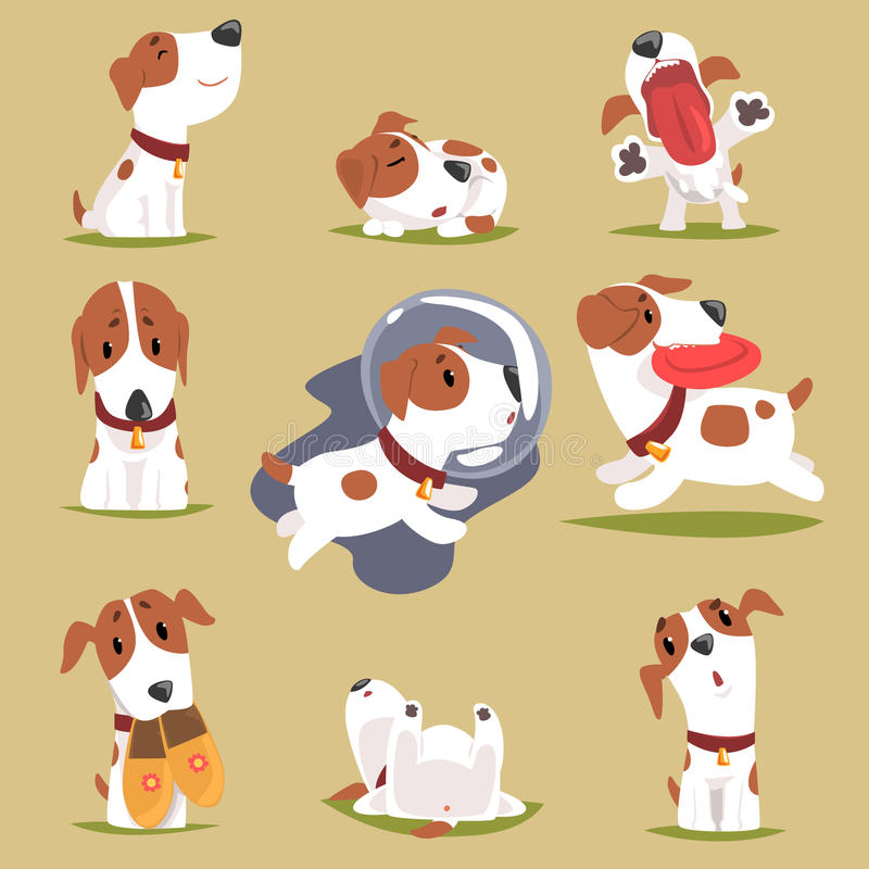 Cute little puppy in his evereday activity set, dogs daily routine funny colorful character vector illustration