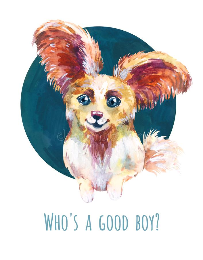 Cute little puppy papillon. Watercolor avatar, funny print for t-shirt, sticker or illustration for dog food packaging. Cute little dog. Funny avatar. Portrait stock illustration