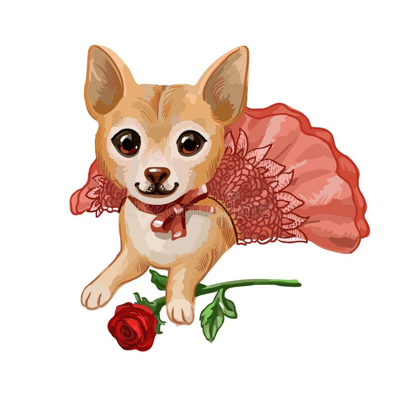 Cute little puppy in pink skirt lies with red rose. Funny cartoon small dog isolated on white. Cartoon hand-drawn vector picture with small puppy, suitable for stock illustration