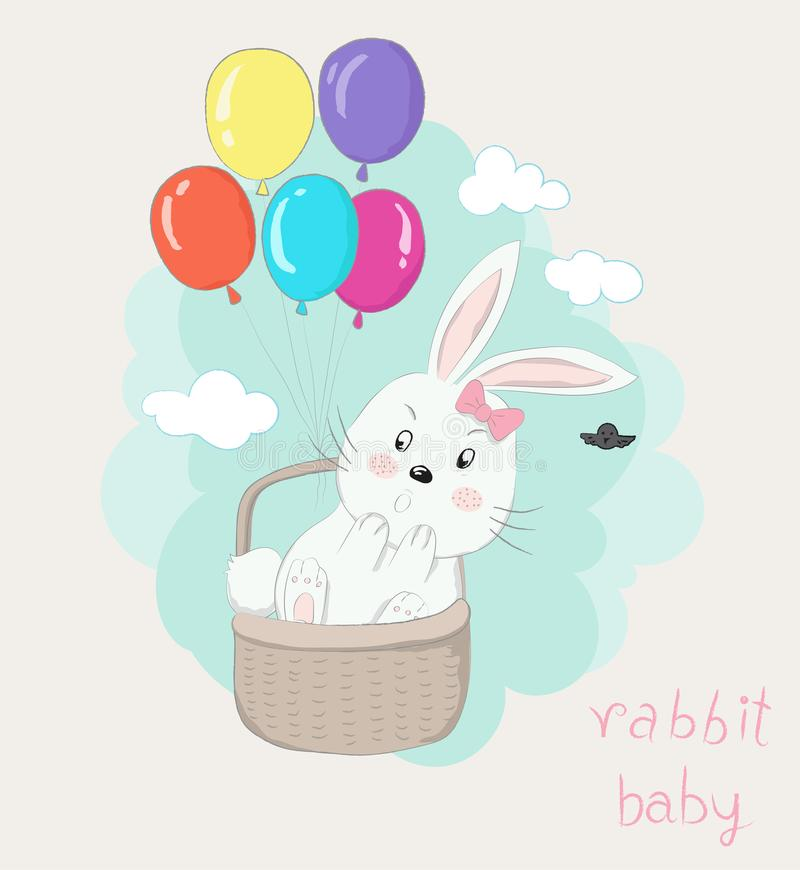 Cute little rabbit cartoon in the basket with colorful balloons. Floating on the sky. Hand drawn style royalty free illustration