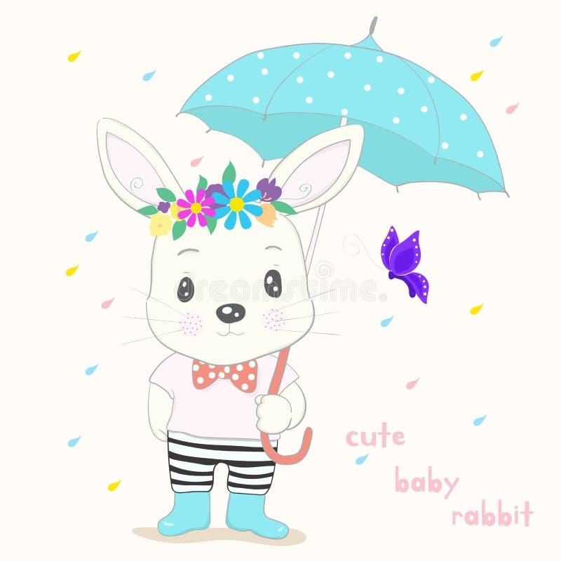 Cute little rabbit cartoon hold umbrella in hand on a rainy day. Hand drawn style stock illustration