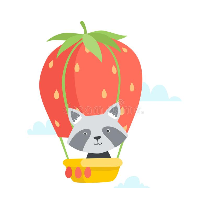 Cute Little Raccoon Travelling By Hot Air Balloon made of Strawberry, Funny Adorable Animal in Transport Vector vector illustration