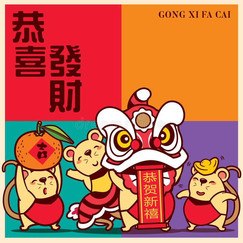 Cute little rats with colourful signboard Gong Xi Fa Cai lettering. The year of rat/mice/mouse Chinese New Year 2020. Translation: Gong Xi Fa Cai  - Vector royalty free illustration
