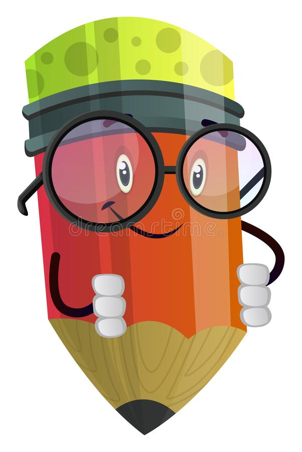 Cute little red pencil illustration vector royalty free illustration