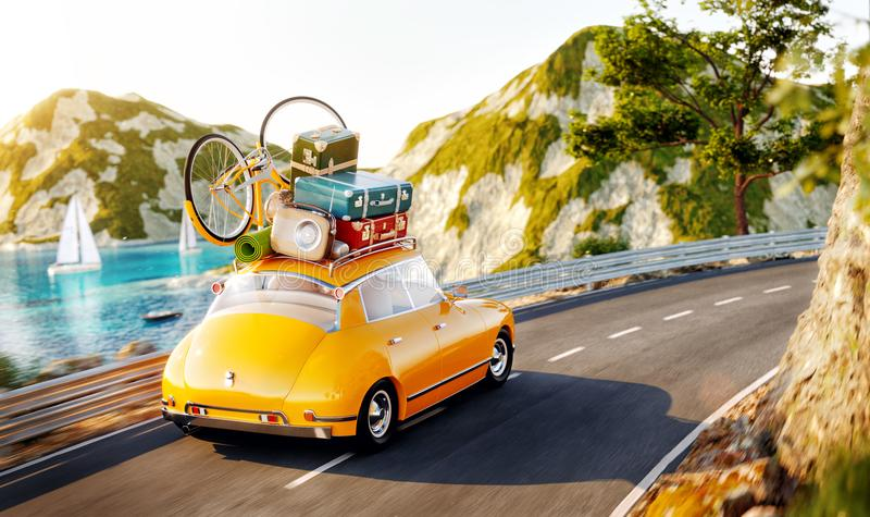 Cute little retro car with suitcases and bicycle on top goes by the road stock illustration