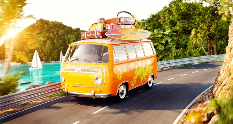 Cute little retro car with suitcases and surf on top goes by the road. Along beautiful harbor between mountains in summer day. Unusual 3d illustration. Travel royalty free illustration