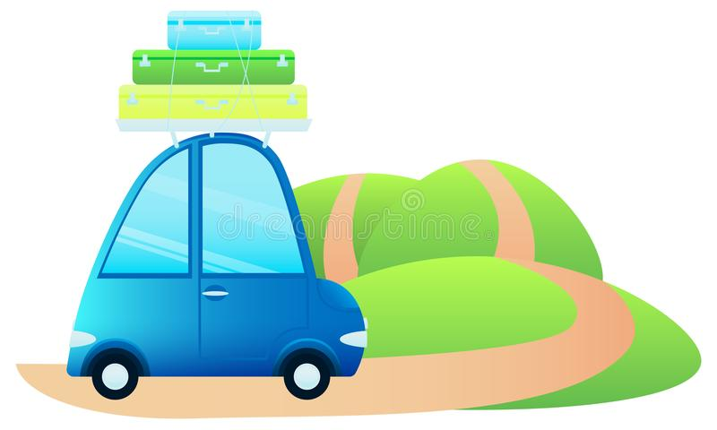 Cute little retro car with suitcases vector illustration