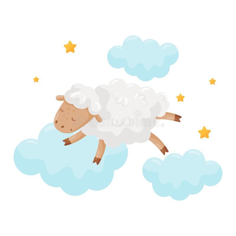 Cute little sheep sleeping on a cloud, lovely animal cartoon character, good night design element, sweet dreams vector vector illustration