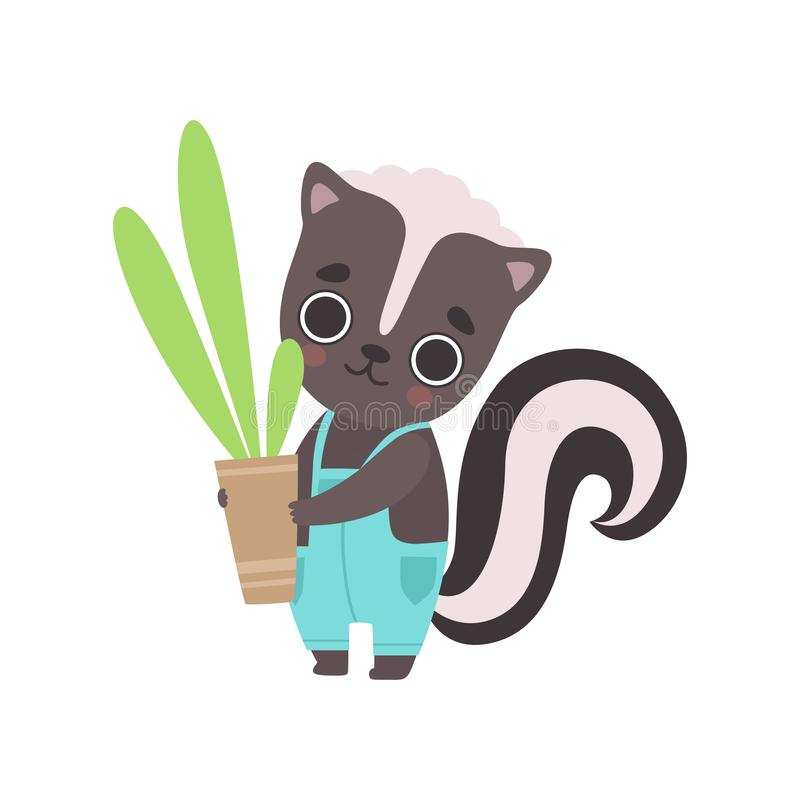 Cute Little Skunk Wearing Overall Holding Flower Pot with Houseplant, Adorable Baby Animal Cartoon Character Vector royalty free illustration