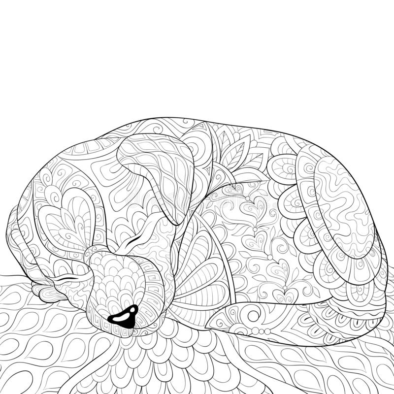 Adult coloring page,book a cute sleeping dog image for relaxing activity. A cute little sleeping dog image for adults,an zen tangle ornaments illutration for royalty free illustration