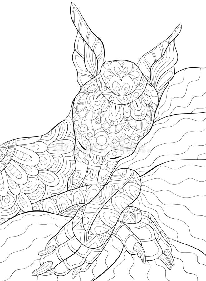 Adult coloring page,book a cute sleeping dog image for relaxing activity. A cute little sleeping dog image for adults,an zen tangle ornaments illutration for stock illustration