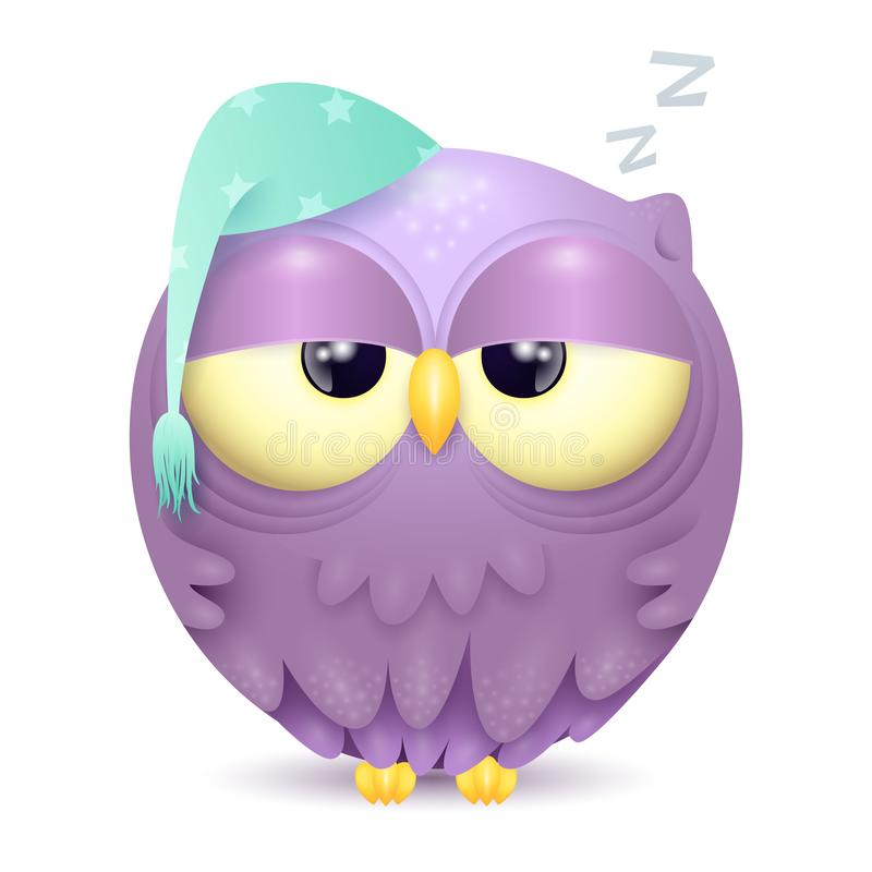 Cute little sleepy owl character isolated on white background vector illustration