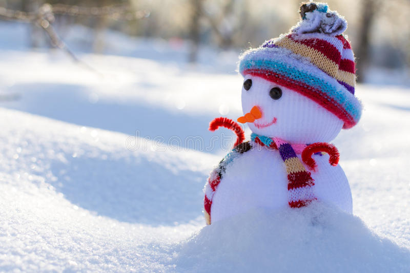 Cute little snowman in hat and scarf royalty free stock images