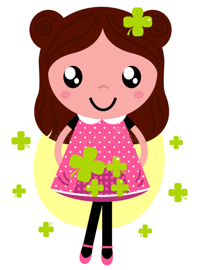 Cute little spring Girl with four stock illustration