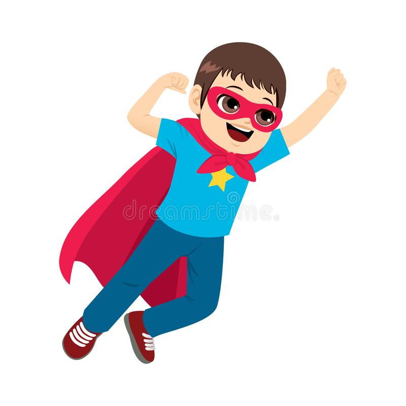 Super Hero Boy Flying. Cute little super hero boy flying with red cape stock illustration