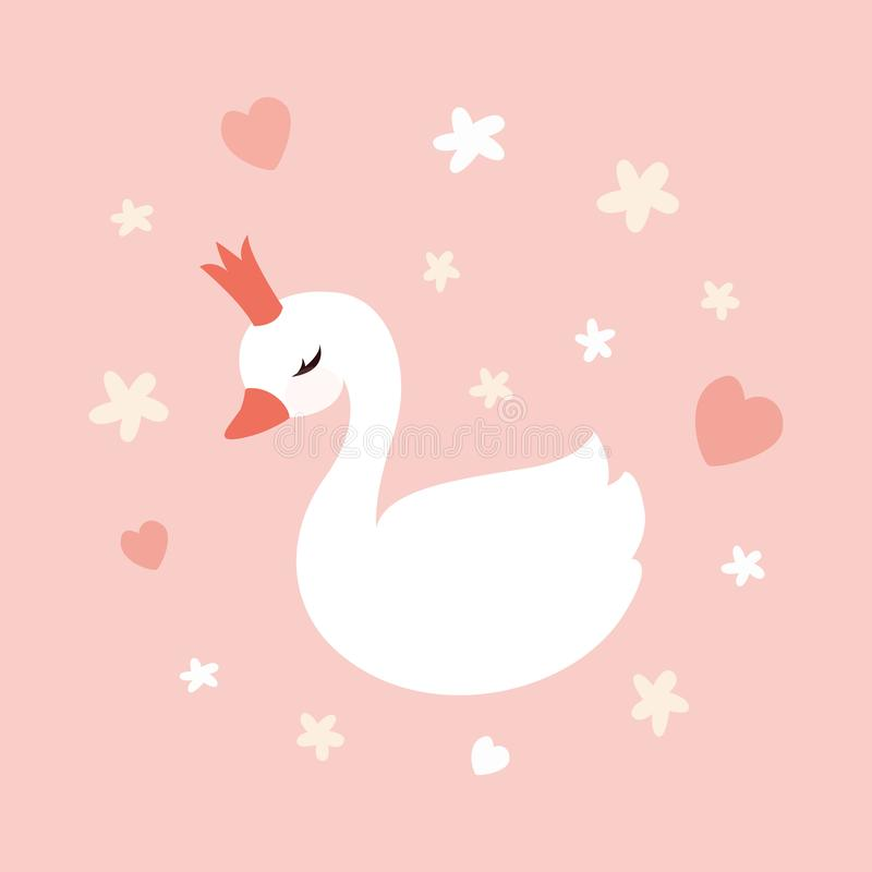 Cute little swan princess on pastel soft pink background. royalty free stock photo