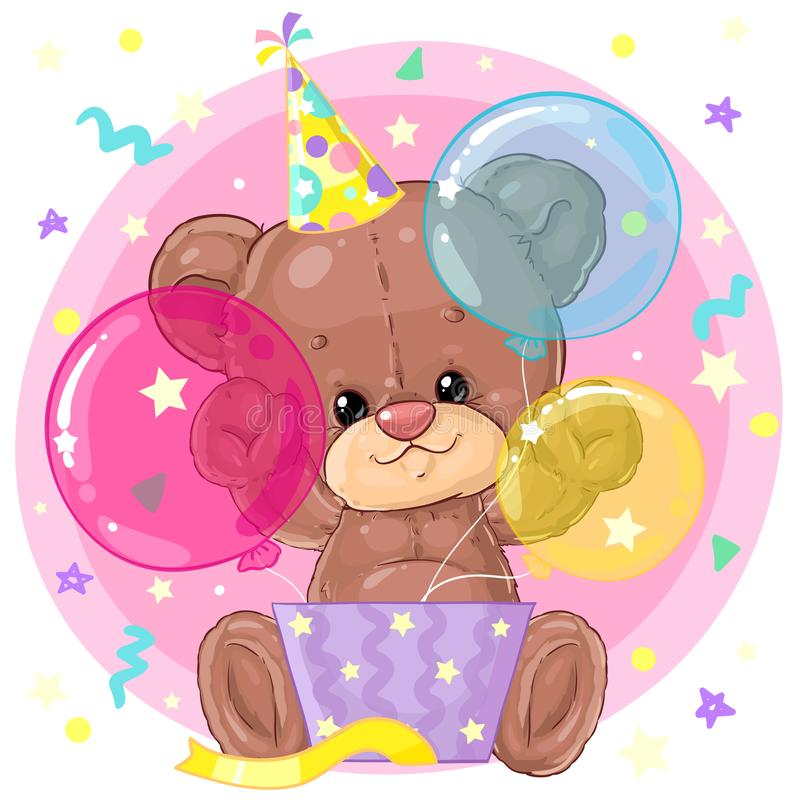 Cute little teddy bear with gift box and balloons. Birthday greeting card. Happy moment. Congratulation. Children character. stock illustration