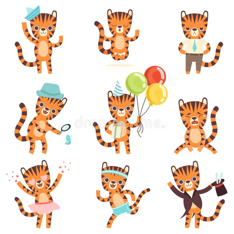 Cute Little Tiger in Different Situations Set, Adorable Wild Animal Cartoon Character Vector Illustration royalty free illustration