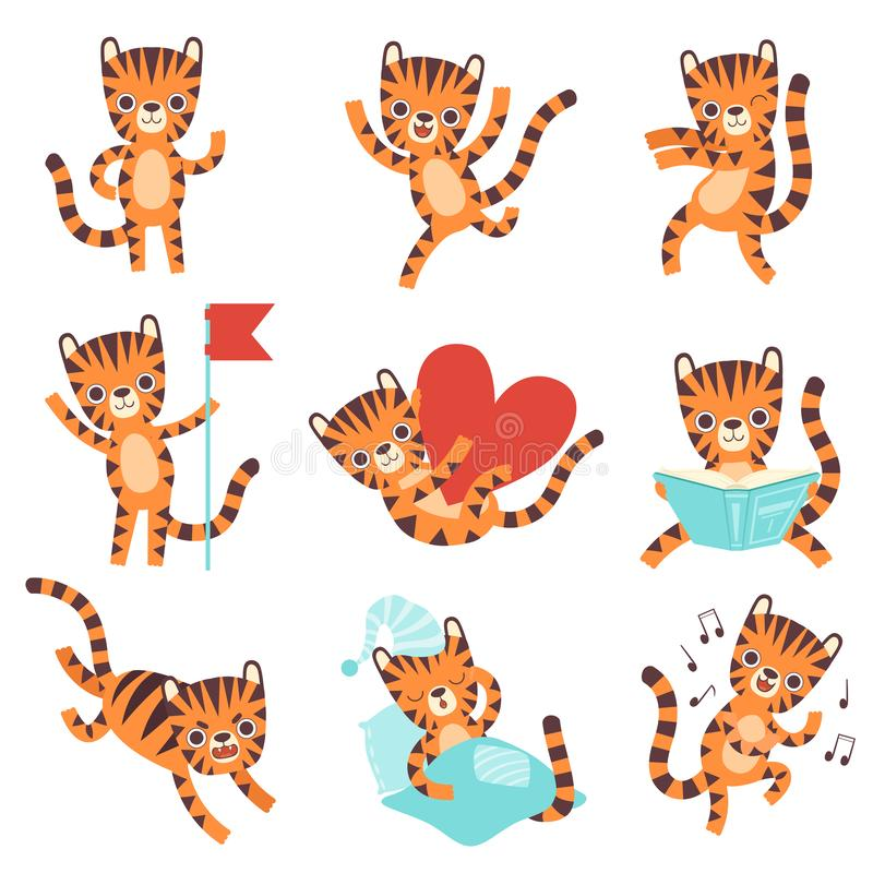 Cute Little Tiger in Different Situations Set, Funny Adorable Wild Animal Cartoon Character Vector Illustration royalty free illustration