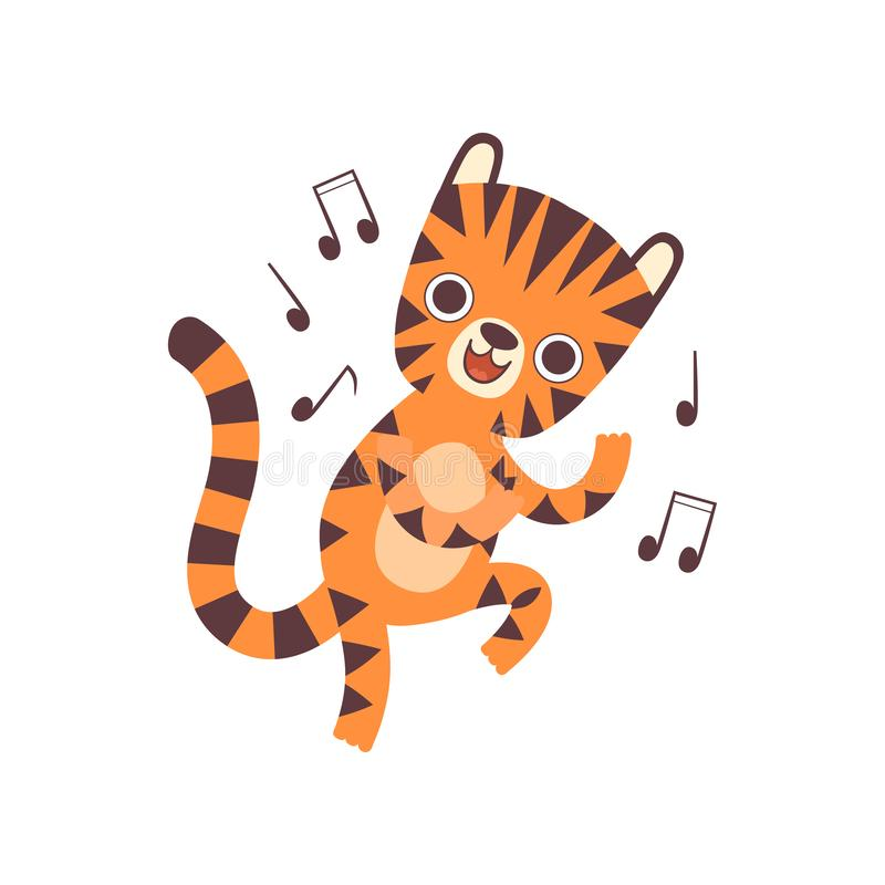 Cute Little Tiger Listen to Music and Dancing, Adorable Wild Animal Cartoon Character Vector Illustration royalty free illustration
