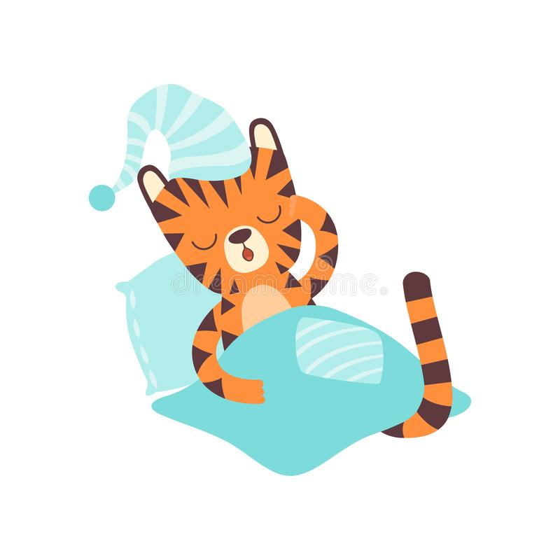 Cute Little Tiger Wearing Cap Sleeping in Bed, Adorable Wild Animal Cartoon Character Vector Illustration royalty free illustration