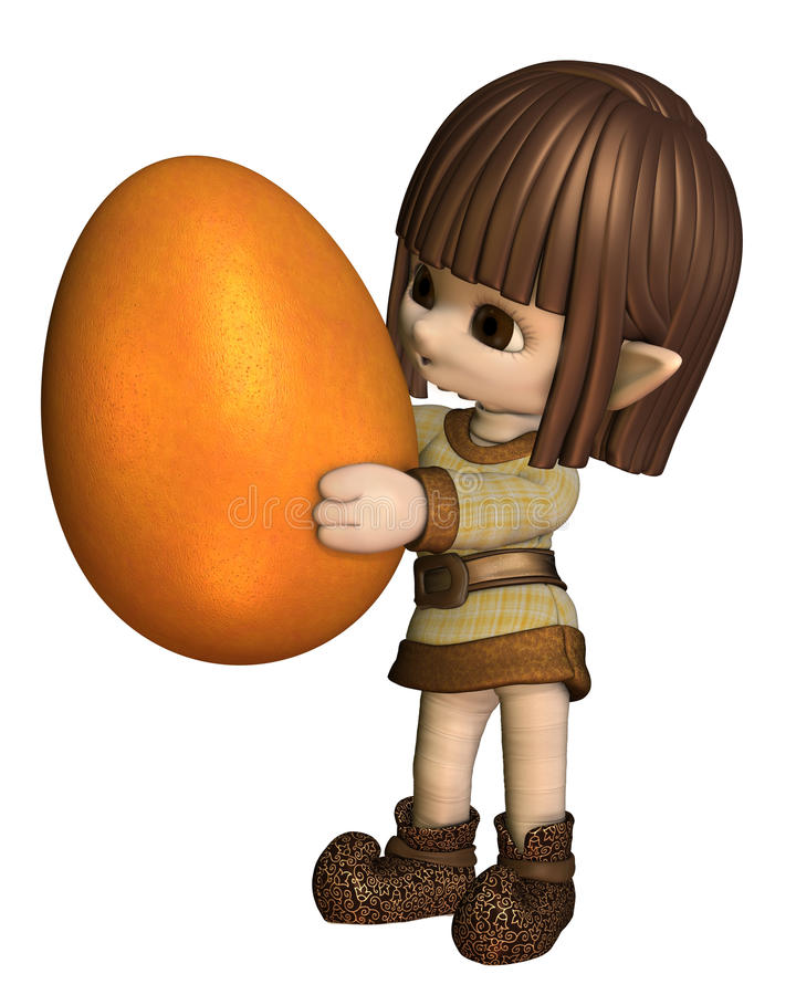 Cute Toon Easter Elf - Orange Royalty Free Stock Photo
