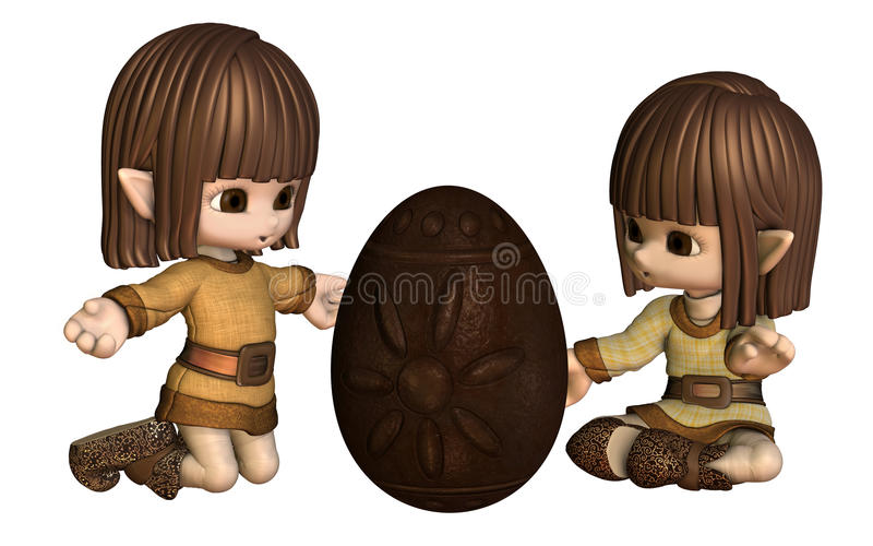 Cute Toon Easter Elves With Chocolate Egg Royalty Free Stock Photography