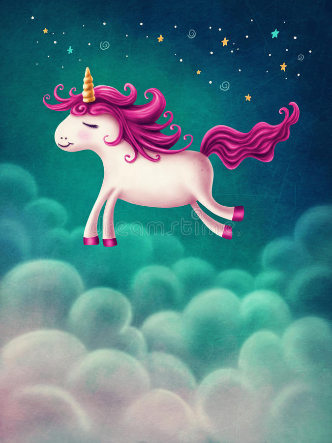 Cute little unicorn vector illustration