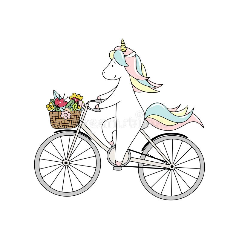 Cute little unicorn is riding a bicycle with bouquet of flowers. Hand drawn vector illustration. stock illustration