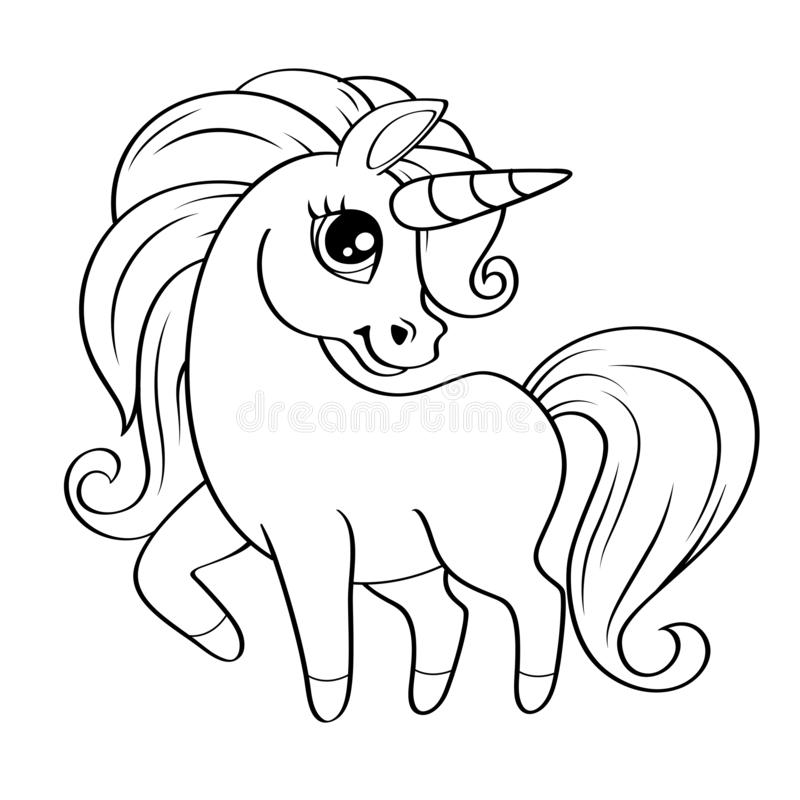 Cute little unicorn. Vector black and white illustration for coloring book. Vector illustration vector illustration