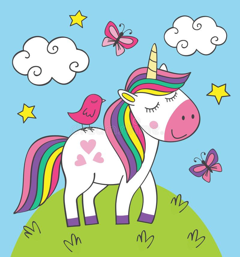 Free Cute Little Unicorn With Bird On Meadow Royalty Free Stock Photography - 135340597
