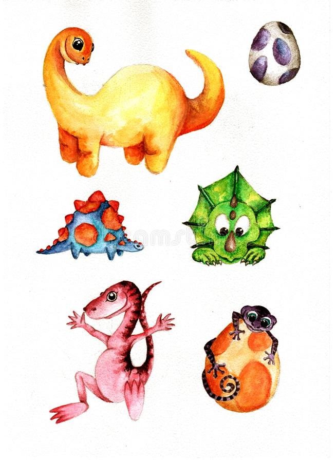 Cute Little Watercolor Dinos hand painted illustration royalty free illustration