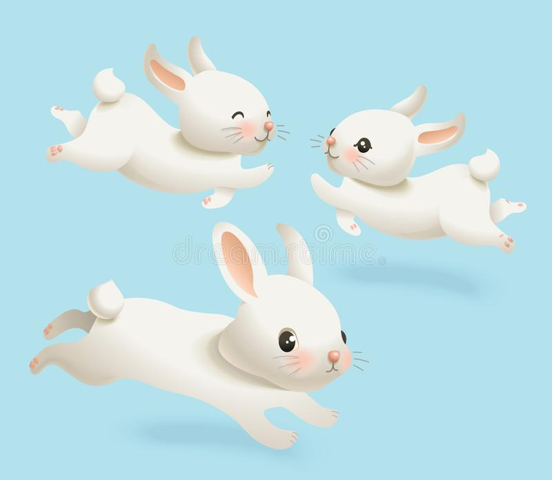 Cute Little White Bunny Vector Illustration Set. Spring Happy Rabbit Character Pose Collection Isolated on Blue vector illustration
