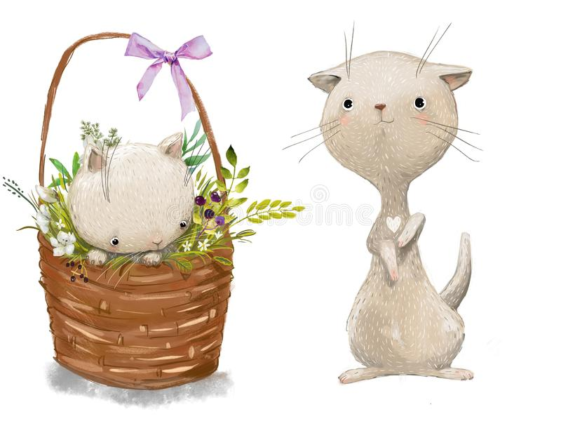 Cute little white cats. Cute cartoon little cats white royalty free illustration