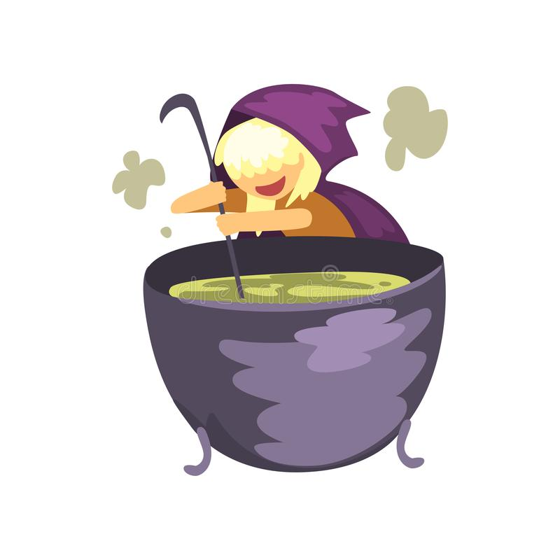 Cute little witch character preparing a potion in cauldron cartoon vector Illustration on a white background vector illustration